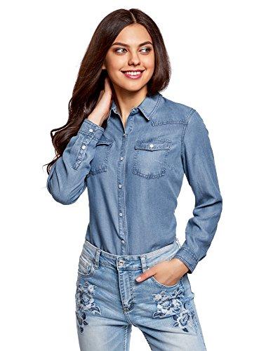 oodji Ultra Mujer Camisa con Botones a Presión con Bolsillos en el Pecho, Azul, ES 34 / XXS