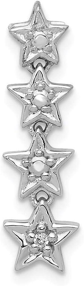 Super sale 14k White Gold Diamond 4 Pendant Chain Stars Max 54% OFF Slide