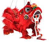 Mandala Crafts Hand String Puppet with Rod, Chinese Marionette Dragon Lion Toy, Red