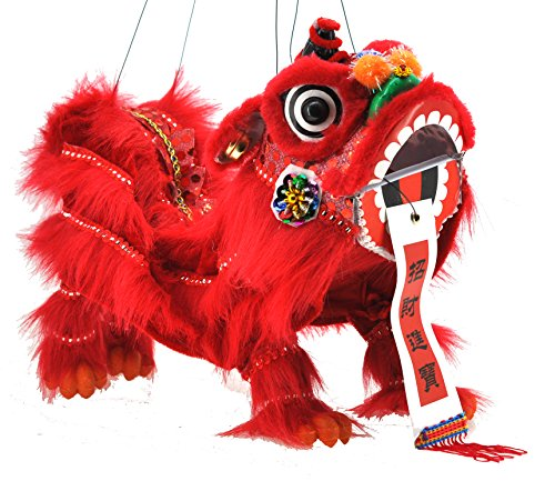 Mandala Crafts Hand String Puppet with Rod, Chinese Marionette Lion Toy, Red