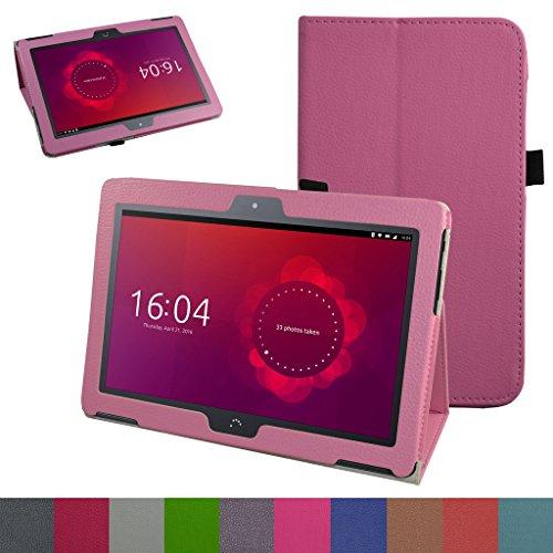 MAMA MOUTH bq Aquaris M10 Funda, Slim PU Cuero con Soporte Funda Caso Case para 10.1' bq Aquaris M10 FullHD FHD HD/Aquaris M10 Ubuntu Edition Android Tablet,Rosa