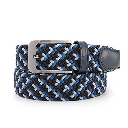 Ground Mind Cinturones, Trenzado Cinturón Casual Tejido Elástica Cincha Tejida Cinturones con Cuero Real Loop y Punta Final Para Hombres Mujeres