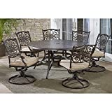 Hanover TRADDN7PCSWRD6 7-Piece Tan Six Swivel Rockers Traditions Dining Set with 60' Round Cast-top Table