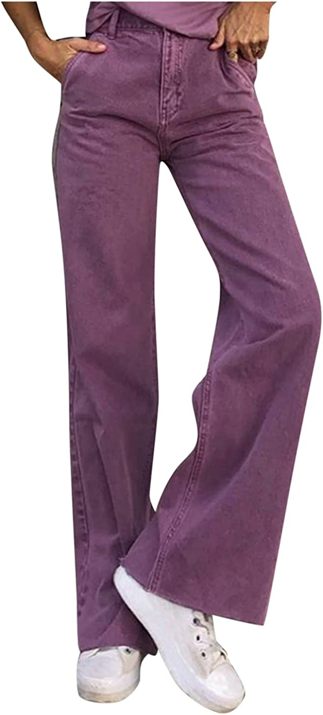 Women High Waist Baggy Jeans Wild Wide Leg Straight Denim Pant C