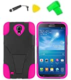 Phone Cover Case Cell Phone Accessory + Extreme Band + Stylus Pen + Yellow Pry Tool For Samsung Galaxy Mega 6.3 / I9200 / GT-I9200 / GT-I9205 / SCH-R960 / R960 / I527 / L600 / M819N (T-Stand Black Pink)