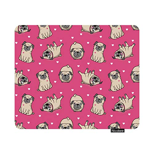 Nicokee Cute Pug Dog Gaming Mouse Pad Pugs Pink Girls Dog Puppy Non-Slip Rubber Mouse Pad for Computers, Laptop, Office, Home Rectangle Personalized Mousepad 9.5 Inch x 7.9 Inch