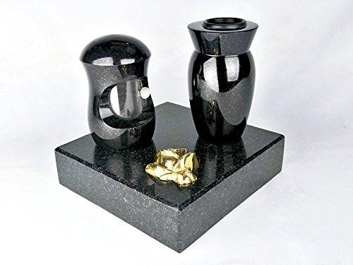 designgrab Grabschmuckset Petit bestehend aus Grablampe, Vase und Sockel mit Messingrose verziert, für Wand- und kleine Urnengräber!