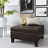 Dorel Living Faux Leather Square Storage Ottoman,...