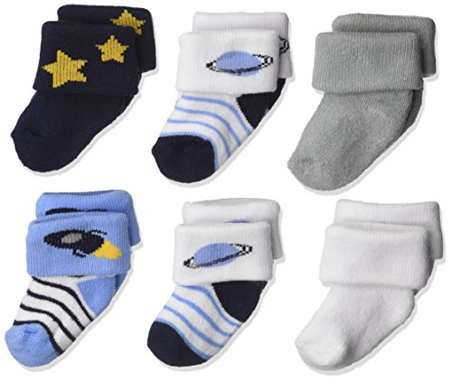 Luvable Friends Unisex Baby Newborn and Baby Socks Set, Space, 0-3 Months