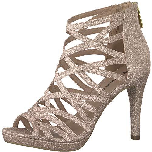 Tamaris 1-1-28014-22 Damen Sandaletten,Sandaletten,Sommerschuhe,offene Absatzschuhe,hoher Absatz,feminin,Rose Glam,39 EU