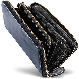[男のブライドルレザー本革長財布] ブライドルレザー ラウンドファスナー 長財布 内装外装本革 2カラー メンズ 財布 [GRACIA] グラシア (ブラック/ブラック)