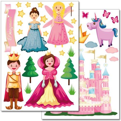 Wandkings Prinzessinnen Welt Wandsticker Set, 38 Aufkleber, 2 DIN A4 Bögen, Gesamtfläche 60 x 20 cm