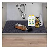 Under The Sink Mat,Kitchen Tray Drip,Cabinet Liner,Fabric Layer,Waterproof Layer,Reusable,Washable (36inches x 24inches)
