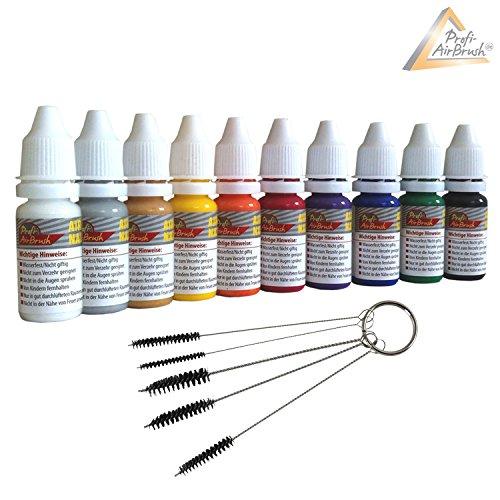 AMUR Airbrush Farben mit Reinigungsbürsten-Set - Universal-Airbrush-Farben - passend zu Airbrush Kompressor und Airbrush Pistole (Airbrush Farben 10er Set für Fingernägel)