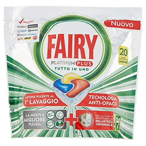 Fairy Platinum Plus Pastiglie per Lavastoviglie, Limone, 20 Capsule, per Una Pulizia Profonda Contro lo Sporco, che Lascia i Piatti Puliti e Brillanti