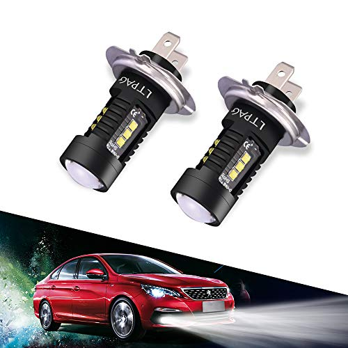 LTPAG 2pcs Bombilla H7 LED Coche, 60W Luces Antiniebla Bombillas 6000K 2400 Lúmenes IP68 Impermeable LED Lamparas, Blanco Frío