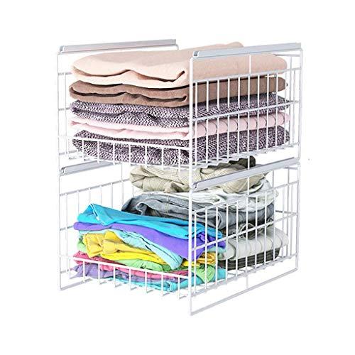 QX Garderoben Kleiderständer, Garderobe Kleiderschrank Mit Ausziehbarer Schublade, Multifunktions-Schlafzimmer Garderobe Kleidung Aufbewahrungsartefakt, Aufbewahrungskorb Für Geschichtete Trennwände,