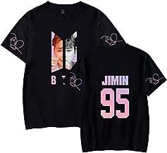 EMILYLE Mujer Love Yourself Foto Media Cara Camiseta Tshirt Top Deportiva V Jin Jimin Jung Kook Suga J-Hope Rap-Monster Boys BTS Moda