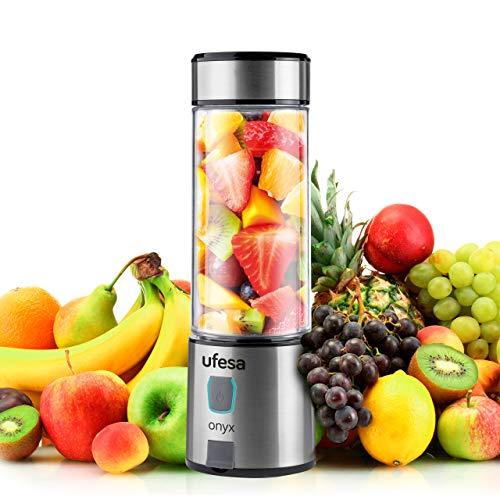 Ufesa BS2400 Onyx Kabellos Tragbarer Mixer für Smoothie und Shakes, USB-Aufladung, bis zu 20 Anwendungen pro Ladung, 400 ml Tritanflasche, Körper und Klingen aus Edelstahl, BPA-frei
