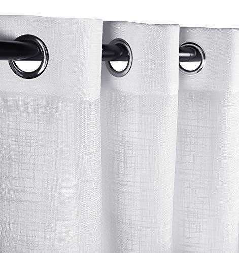 White Sheer Curtains, Semi Sheer Look Linen Grommet Top Curtains, Linen Texture Wave Fabric Vertical Window Shades for Bedroom, Living Room, Set of 2, White 52 x 95 inches Long
