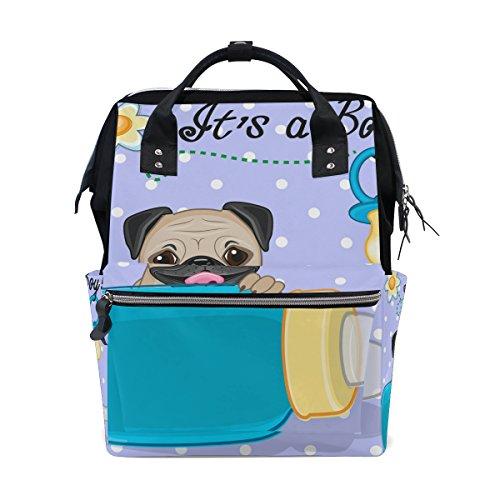 Tizorax Chien carlin Boy Diaper Sac à dos Grande capacité bébé Sac multifonctions Sacs à couches de voyage Maman Sac à dos pour bébé Care