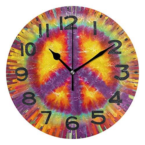 Naanle Chic Reloj de pared redondo de 24 cm, de cuarzo, funciona con pilas, analógico, silencioso, para el hogar, la oficina, la escuela