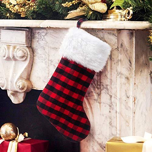 DUDNJC 2 calcetines de Navidad clásicos a cuadros rojos, calcetines clásicos de piel sintética de 50,8 cm, calcetines de Navidad tradicionales para decoración de chimenea, fiestas de Navidad