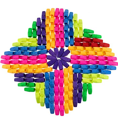 PRALB 300PCS Chisel Shape Pencil Eraser Caps, Pencil Erasers Assorted Colors For Party Favors Games Prizes Pen Cap Toppers Pencil Top Erasers Cap Erasers Eraser Tops Pencil Eraser Toppers School Erase