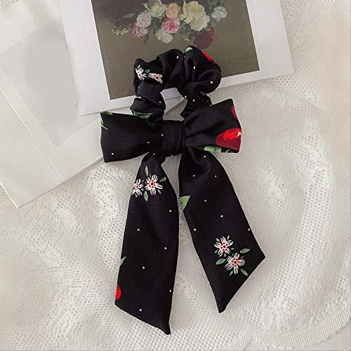 Dulce cereza estampado floral lazo anudado cuerda para el cabello Scrunchies mujeres cola de caballo bufanda a cuadros estampado lazos para el cabello cinta accesorios para el cabello