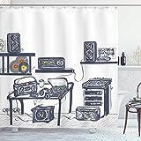 Sosun Cortina de baño Moderna, Estudio de grabación con Dispositivos de música, Tocadiscos, grabaciones, Altavoces, ilustración Digital, Tela de Tela, decoración de baño con Ganchos, Azul cadete