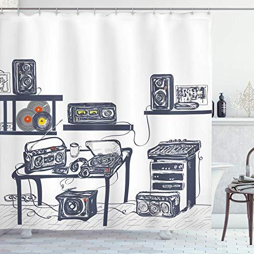60 x 72 inch studio-douchegordijn, modern, met muziekapparatuur, platenspeler, luidsprekers, digitale illustratie, stof, badkamer, decoratie, met haken