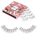 Fake Eyelashes Wenida 5 Pairs Reusable 100% Handmade Soft Long Thin Natural look False Eyelashes