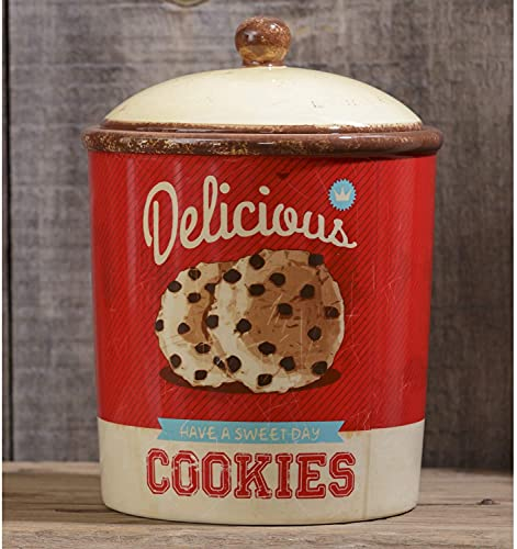 Decorative Vintage Ceramic Cookie Jar with Lid – Retro Farmhouse Canister – Rustic Kitchen Counter Utensil Crock Storage Container for Home Decor