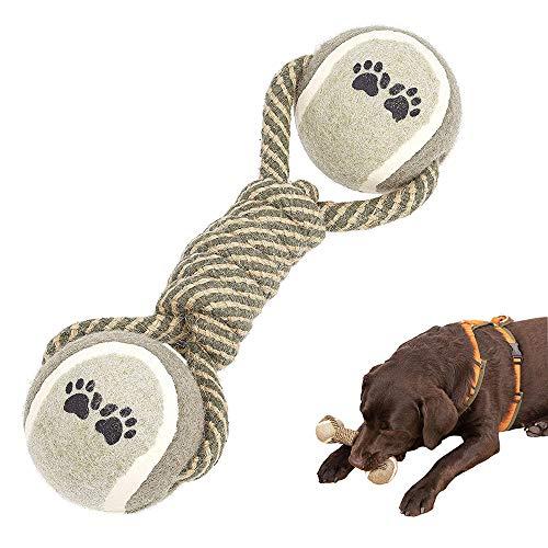 BINGXIAN Hundespielzeug aus Seil, Hundeseilspielzeugball, Geflochtenes Seil mit Tennisbällen, Interaktives Hundespielzeug für kleine mittelgroße Hunde Welpentraining Spielen Zahnreinigung
