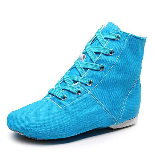 AOQUNFS Zapatos de Baile Jazz Moderno Ballet Botas de Baile de Lona para Jazz Práctica Ballet,TJ-GB-Jazz-Azul,EU 37