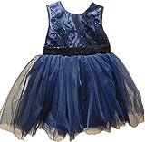 Dilaras Babybekleidung Taufkleid Baby Mädchen inkl. Haarband (dunkelblau, 92)