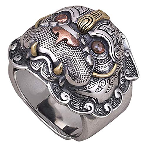 Vintage 925 Sterling Silver Chinese Mythical Beast PIXIU Ring for Men Women Adjustable Size 54-62