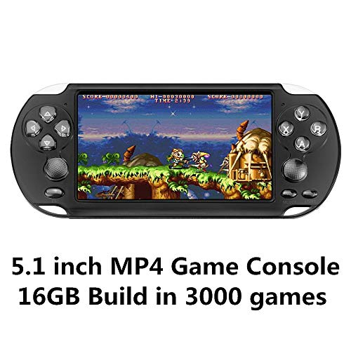 CZT Pantalla de 5.1 Pulgadas 16GB Videoconsola Retro de 128 bits Consola integrada 3000 Juegos para Arcade NEOGEO/CPS/FC/NES/SFC/SNES/GB/GBC/GBA/SMC/SMD/Sega Consola portátil de Juegos MP3/4 (Black)