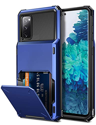 Vofolen for Galaxy S20 FE 5G Case Wallet Credit Card Holder 4-Card Slot Hidden Back Pocket Dual Layer Hybrid Rugged Rubber Bumper Protective Hard Shell Cover for Samsung Galaxy S20 FE 5G Navy