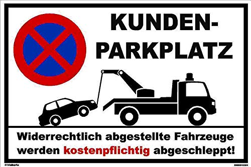 Kleberio Parkplatz Schild 20 x 30 cm - Kundenparkplatz - Stabile Aluminiumverbundplatte