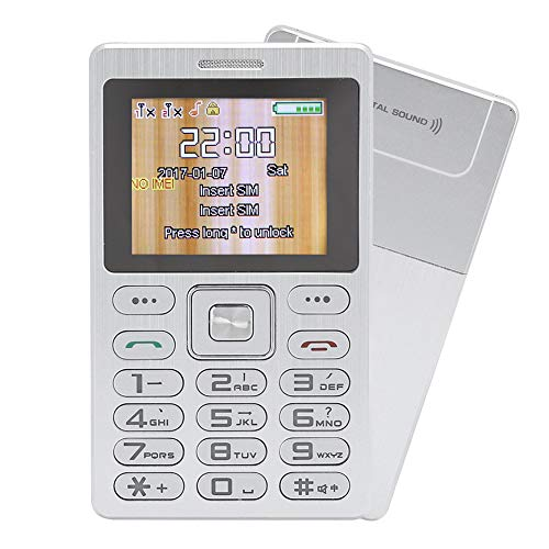 Mobiltelefon, Bluetooth-Telefon mit Telefonverzeichnis und 3,5-mm-Headset-Anschluss Bluetooth Dialer Dual, Unterstützung Dual-SIM Dual Standby, 1,77-Zoll-Mobiltelefon mit ultradünner Karte(Silber)