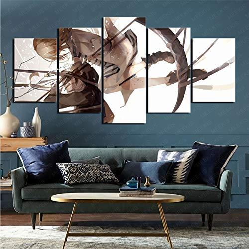 Panel Wall Art 5 Piezas Personajes de Anime Death Angel Home Art Decoration 100x200cm (Sin Marco)
