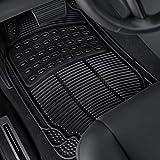 OxGord Ridged All-Weather Rubber Floor-Mats - Waterproof Protector for Spills, Dog, Pets, Car, SUV, Minivan, Truck - 4-Piece Set, Black
