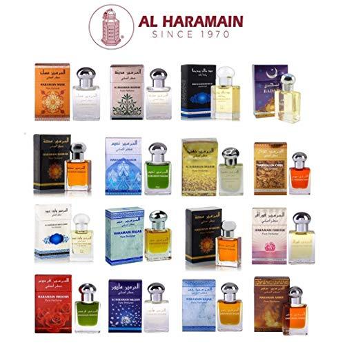 Al Haramain 15ml Véritable Attar Parfum Sans Alcool Musk Oud Roll Haute Qualité Plusieurs Modéles Disponibles (Ambar)