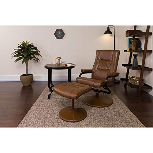 Flash Furniture BT-7862-PALIMINO-GG Contemporary Multi-Position Recliner and Ottoman with Wrapped Base in Palimino LeatherSoft