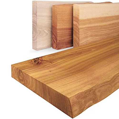LAMO Manufaktur Estante de Madera con Borde Natural, Modelo Pure, Estante sin Soportes, Rustico 120cm, LW-01-A-003-120