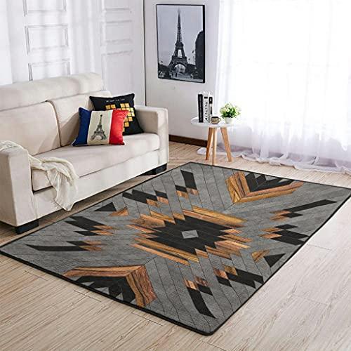 Tobgreatey Area Rugs Alfombra étnica geométrica Totem de Baja Alfombra para el suelo para dormitorio blanco 122 x 183 cm