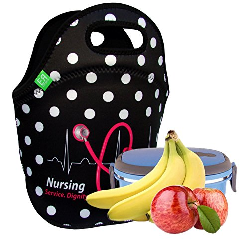 Stylish Nurse Gifts for women and men - Ultra Insulated Neoprene Nurses Lunch Tote Bag-Perfect Birthday and Graduation Gift By EatRite (Black/WhiteDot)