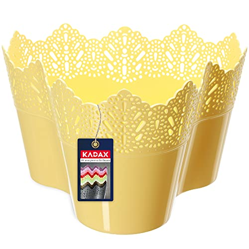 KADAX Macetas de plástico de encaje de 11 colores, maceta de flores con diseño de encaje, ideal...