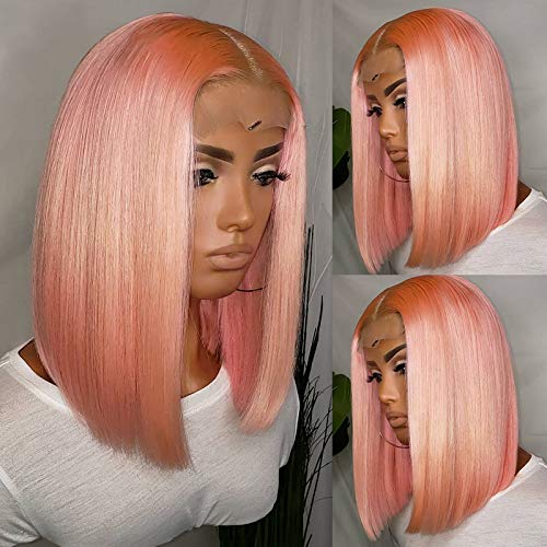 """Pink Bob Lace Wigs Pre Plucked Natural Straight Human Hair Wig for Black Women 150% Density Lace Front Wigs Middle Part with Natural Hairline 10"""""""